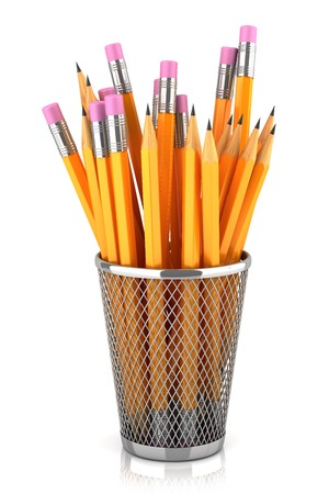 clerical: Graphite pencils in basket isolated on white background Stock Photo