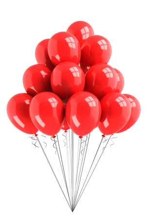 monochromic: Bunch of red balloons isolated on white background Stock Photo
