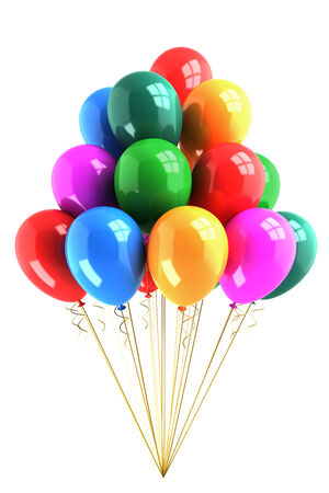 colored balloons: Bunch of colored balloons isolated on white background
