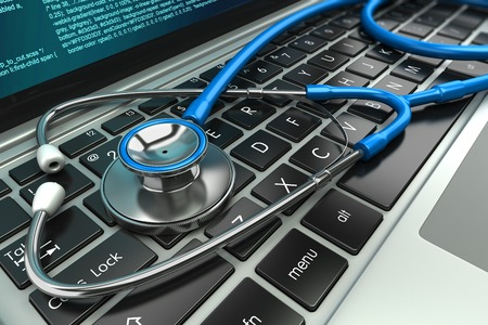 Stethoscope on laptop keyboard. Concept 3D image Stock fotó
