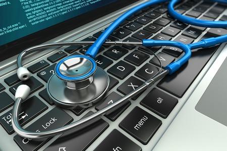 Stethoskop auf Laptop-Tastatur. Konzept 3D-Bild Standard-Bild