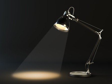 yellow lamp: Lampshade in a dark background. Illustration