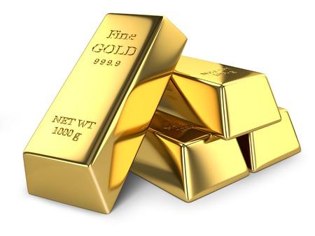 Gold ingots isolated on white background Standard-Bild
