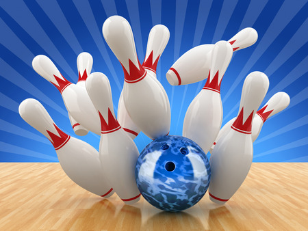ten pin bowling: Bowling pin. 3D illustration.