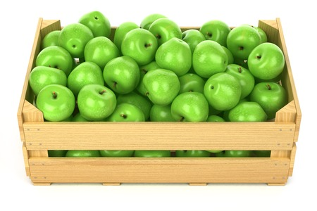 Green apples in the wooden crate isolated 스톡 콘텐츠