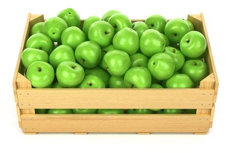 Manzanas verdes en la caja de madera aisladas Foto de archivo - 35289124