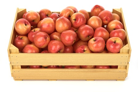 crate: Red apples in the wooden crate isolated