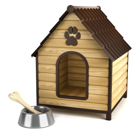 baclground: Kennel. Doghouse and bone in bowl isolated on white baclground Stock Photo