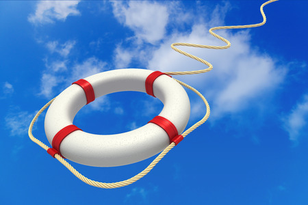 Life preserver in sky. Help concept. 3D