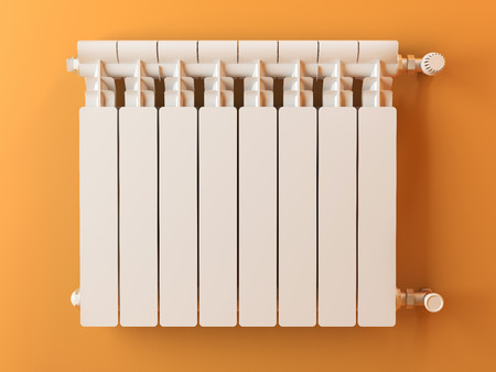radiator: Heater radiator on yellow wall in house. 3d image