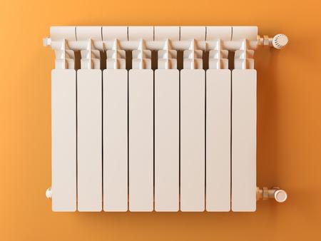 radiador: Radiador calentador en la pared amarilla en casa. Imagen en 3D Foto de archivo