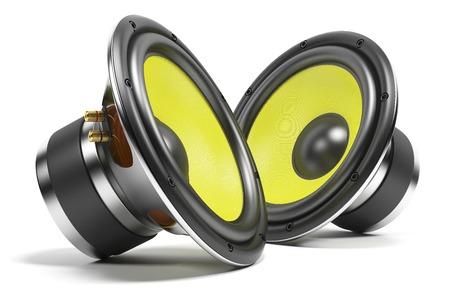 사운드 스피커의 키트는 흰색 배경에 고립 스톡 콘텐츠