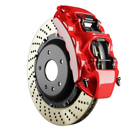 Automobile braking system. Aeration steel brake disk with perforation and red six pistons calipers and pads. Tuning auto parts. Isolated on white background 3d. Foto de archivo