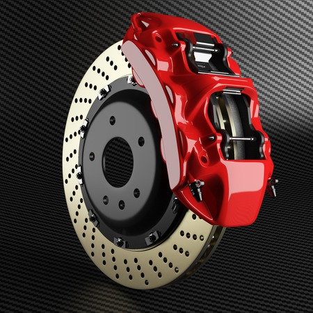 Automobile braking system. Aeration steel brake disk with perforation and red six pistons calipers and pads. Tuning auto parts on carbon background 3d.