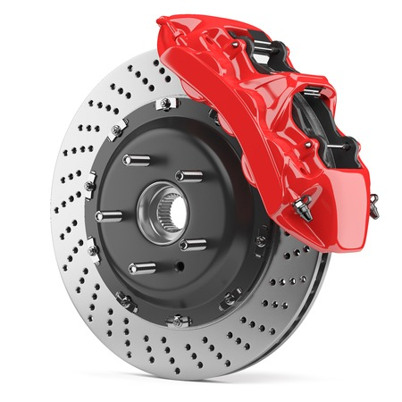 Automobile braking system. Aeration steel brake disk with perforation and red six pistons calipers and pads. Tuning auto parts. Isolated on white background 3d. Archivio Fotografico