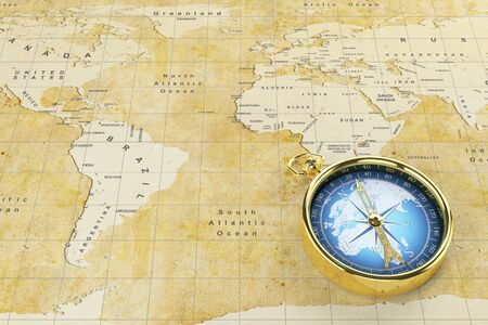Antique golden compass with blue world map inside isolated on 38029779 historical world map of the old paper with countries on the continent golden antique compass with blue world map inside gumiabroncs Gallery