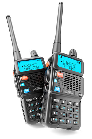A group of two portable Walkie-talkie with digital display and a large antenna. Black radio transceiver with PTT and call buttons. Front view. Isolated on white background. 3d Stock Photo