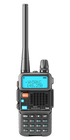 Portable Walkie-talkie with digital display and a large antenna. Black radio transceiver with PTT and call buttons. Front view. Isolated on white background. 3d