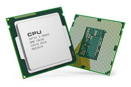 hardware: Grupo de los chips de CPU procesador de c�mputo aisladas sobre fondo blanco 3d. La tecnolog�a de hardware de PC Foto de archivo