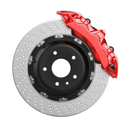 Automobile braking system. Aeration steel brake disk with perforation and red six pistons calipers and pads. Tuning auto parts. Isolated on white background 3d. Stock Photo
