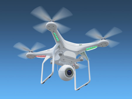 White drone, quadrocopter, with photo camera flying in the blue sky. Concept