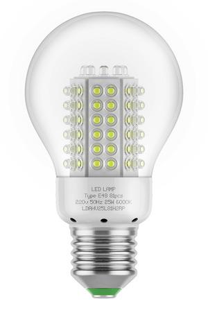 Bulb lamp led saving energy efficient safety isolated white background eco green