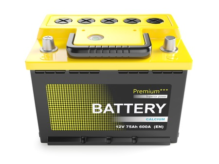 yellow car: battery batteries accumulator car auto parts electrical supply power isolated 12v Stock Photo