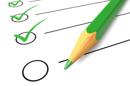 Lista Lista di controllo di controllo segno bianco questionario isolato matita verde OK Sì elezioni diagnostica