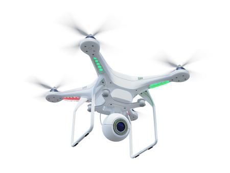 Wit drone, QuadroCopter, met fotocamera vliegen in de blauwe lucht. Concept