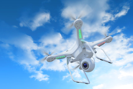 phantom: White drone, quadrocopter, with photo camera flying in the blue sky. Concept