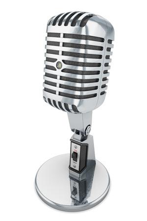 microfono antiguo: micr�fono aislado audio estudio micr�fono retro vintage cl�sico cromo fondo blanco Foto de archivo