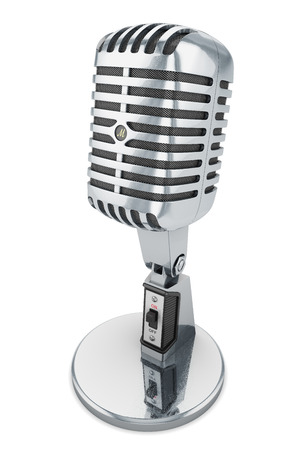 microfoon geïsoleerd retro vintage microfoon studio audio klassieke chrome witte achtergrond Stockfoto
