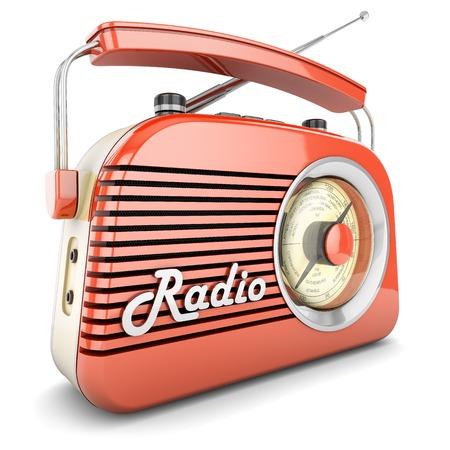 Radio retro portable receiver red recorder vintage object isolated Standard-Bild