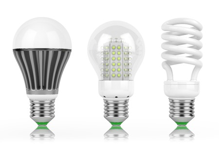 LED lamps group row bulb power safety isolated white background,
