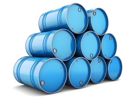 oil barrel: Barrels steel blue pallet tray isolated oil tanks water metal group