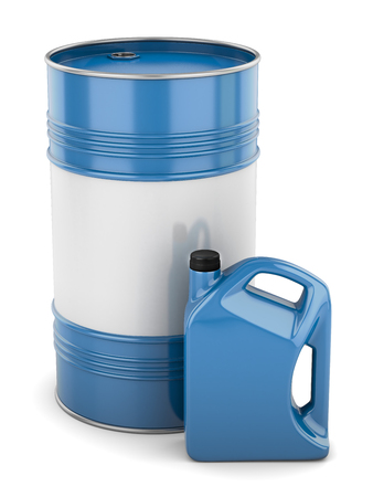 synthetic: Motor oil barrel canister blue isolated Stock Photo