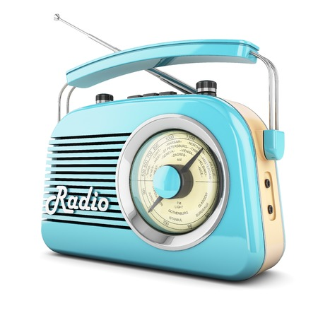 retro music: Radio retro portable receiver blue recorder vintage object isolated