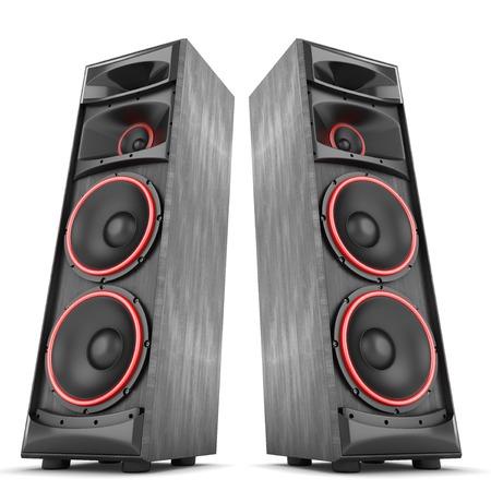 speaker: Concierto Altavoces cajas de m�sica de audio de dos aislado alto grande Foto de archivo