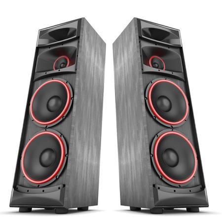 loud speaker: Speakers boxes audio music concert two isolated high big Stock Photo