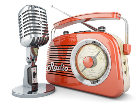 ON AIR  radio microphone retro vintage fm broadcasting interview transmitter Stock Photo