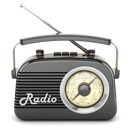 fondo blanco: Aislado Radio grabadora receptor portable retro objeto frontal negro de la vendimia