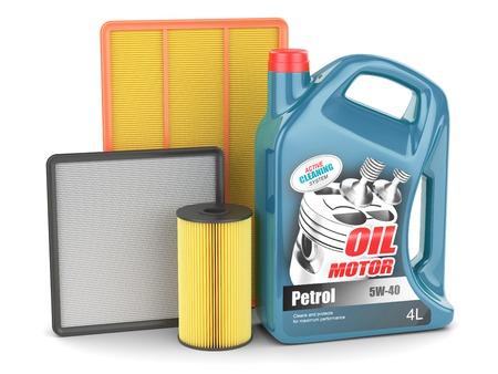 Change filter olie motor motor kan geïsoleerde Stockfoto