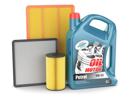 papel filtro: Motor de cambio de aceite del motor del filtro puede aislado Foto de archivo