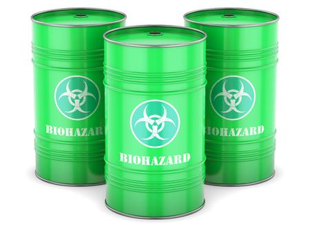 Biohazard waste barrels symbol chemical toxic green isolated photo