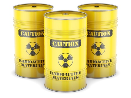barrels with nuclear waste: Radioactive waste nuclear barrels yellow sign isolated
