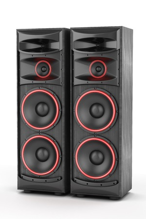 two party system: Speakers boxes audio music concert two isolated high big Stock Photo