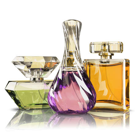 parfume: Group parfume bottle isolated on white background