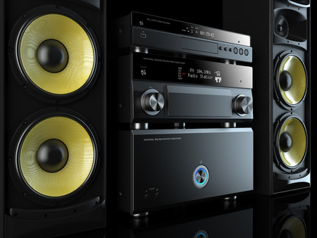 home entertainment: Hi-Fi stereo system musical player, power receiver, yellow speakers, multimedia center Stock Photo