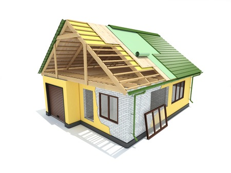 frameworks: Plan for the construction project of a house. Design and construction. Concept. Stock Photo