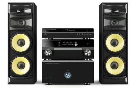 loud speaker: Hi-Fi stereo system musical player, power receiver, yellow speakers, multimedia center Stock Photo
